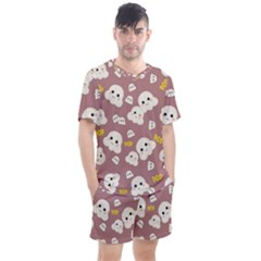 Cute Kawaii Popcorn Pattern Men s Mesh Tee And Shorts Set by Valentinaart