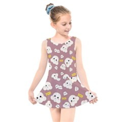 Cute Kawaii Popcorn Pattern Kids  Skater Dress Swimsuit by Valentinaart