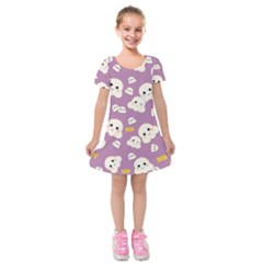 Cute Kawaii Popcorn Pattern Kids  Short Sleeve Velvet Dress