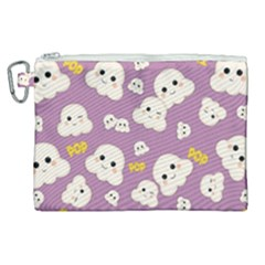 Cute Kawaii Popcorn Pattern Canvas Cosmetic Bag (xl) by Valentinaart