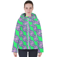 Purple Chains On A Green Background                                                   Women s Hooded Puffer Jacket