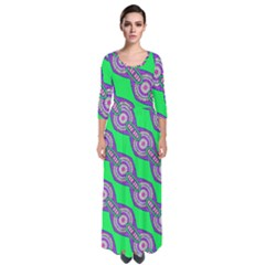 Purple Chains On A Green Background                                                      Quarter Sleeve Maxi Dress by LalyLauraFLM