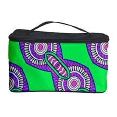 Purple Chains On A Green Background                                                    Cosmetic Storage Case by LalyLauraFLM