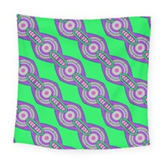 Purple Chains On A Green Background                                                   Square Tapestry by LalyLauraFLM