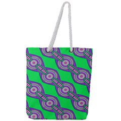 Purple Chains On A Green Background                                                Full Print Rope Handle Tote (large) by LalyLauraFLM