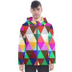 Triangles Pattern                                                    Men s Hooded Puffer Jacket by LalyLauraFLM