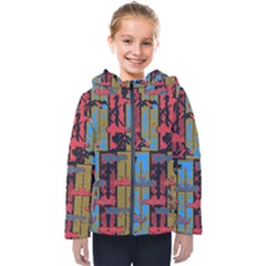 Rectangles Texture                                                   Kids  Hooded Puffer Jacket