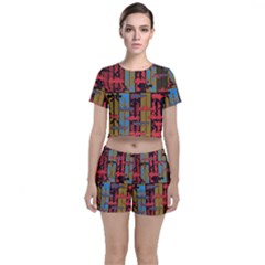 Rectangles Texture                                              Crop Top And Shorts Co Ord Set