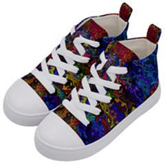 Colorful Waves                                             Kid s Mid Top Canvas Sneakers by LalyLauraFLM