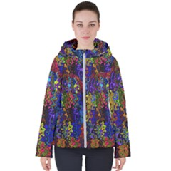 Colorful Waves                                                    Women s Hooded Puffer Jacket by LalyLauraFLM