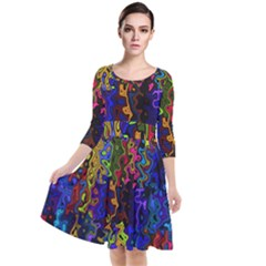 Colorful Waves                                                       Quarter Sleeve Waist Band Dress