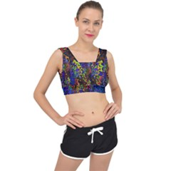 Colorful Waves                                                    V Back Sports Bra