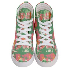 Pink Scratches On A Green Background                                             Women s Hi Top Skate Sneakers