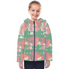 Pink Scratches On A Green Background                                                     Kids  Hooded Puffer Jacket