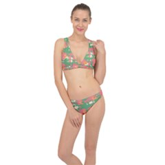 Pink Scratches On A Green Background                                                      Classic Banded Bikini Set