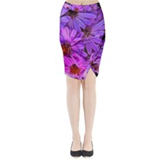 Pink Garden Flowers Midi Wrap Pencil Skirt by bloomingvinedesign