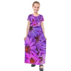 Pink Garden Flowers Kids  Short Sleeve Maxi Dress by bloomingvinedesign