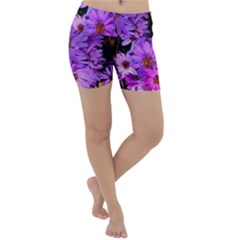 Pink Garden Flowers Lightweight Velour Yoga Shorts by bloomingvinedesign