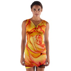 Orange Rose Bright Wrap Front Bodycon Dress