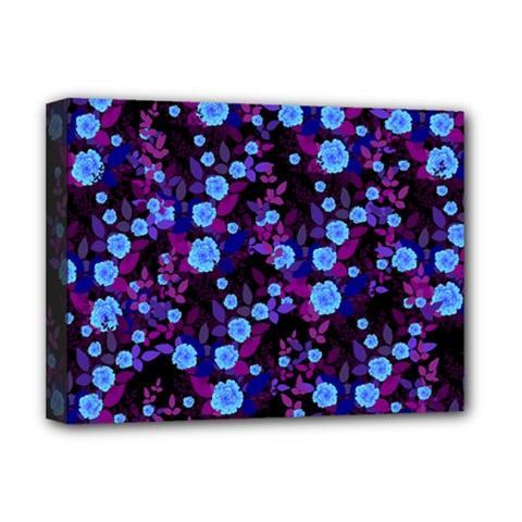 Purple Blue  Roses Deluxe Canvas 16  X 12  (stretched)  by snowwhitegirl