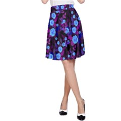 Purple Blue  Roses A-line Skirt
