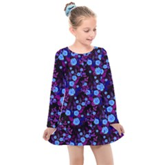 Purple Blue  Roses Kids  Long Sleeve Dress