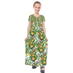 Peach Roses White Kids  Short Sleeve Maxi Dress