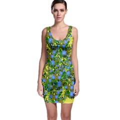 Blue Luminescent Roses Yellow Bodycon Dress