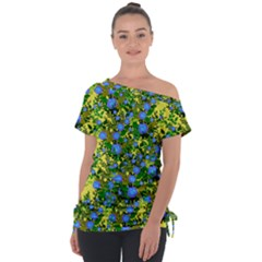 Blue Luminescent Roses Yellow Tie Up Tee