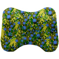 Blue Luminescent Roses Yellow Head Support Cushion by snowwhitegirl