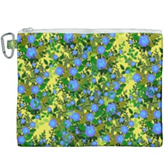 Blue Luminescent Roses Yellow Canvas Cosmetic Bag (xxxl) by snowwhitegirl
