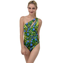 Blue Luminescent Roses Yellow To One Side Swimsuit