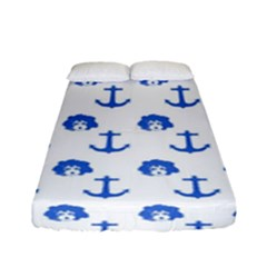 Vintage Face Anchor Blue Fitted Sheet (full/ Double Size) by snowwhitegirl