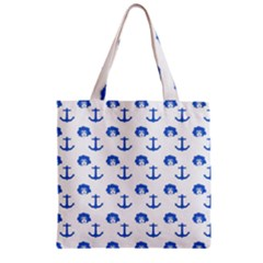 Vintage Face Anchor Blue Zipper Grocery Tote Bag by snowwhitegirl