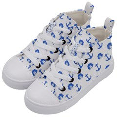 Vintage Face Anchor Blue Kid s Mid Top Canvas Sneakers by snowwhitegirl
