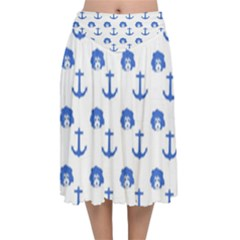 Vintage Face Anchor Blue Velvet Flared Midi Skirt by snowwhitegirl