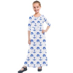 Vintage Face Anchor Blue Kids  Quarter Sleeve Maxi Dress by snowwhitegirl