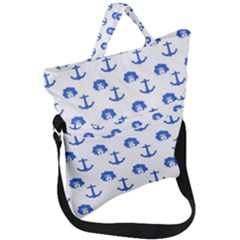 Vintage Face Anchor Blue Fold Over Handle Tote Bag by snowwhitegirl