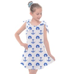 Vintage Face Anchor Blue Kids  Tie Up Tunic Dress