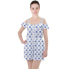 Vintage Face Anchor Blue Ruffle Cut Out Chiffon Playsuit
