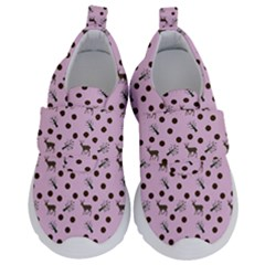 Pink Deer Pattern Velcro Strap Shoes