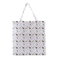 White Deer Pattern Grocery Tote Bag