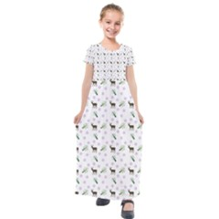 White Deer Pattern Kids  Short Sleeve Maxi Dress by snowwhitegirl