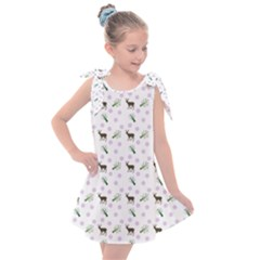White Deer Pattern Kids  Tie Up Tunic Dress
