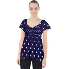 Little  Dots Navy Blue Lace Front Dolly Top