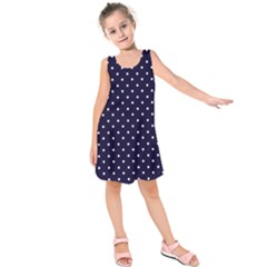 Little  Dots Navy Blue Kids  Sleeveless Dress by snowwhitegirl