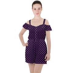 Little  Dots Purple Ruffle Cut Out Chiffon Playsuit