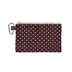 Little  Dots Maroon Canvas Cosmetic Bag (small) by snowwhitegirl