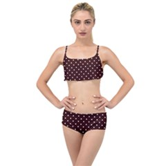 Little  Dots Maroon Layered Top Bikini Set by snowwhitegirl