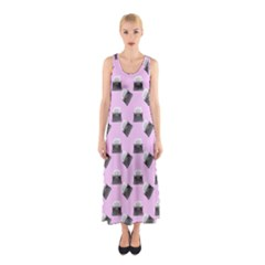 Retro Typewriter Pink Pattern Sleeveless Maxi Dress